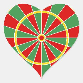 Modelo del Dartboard de Rasta Pegatina En Forma De Corazón