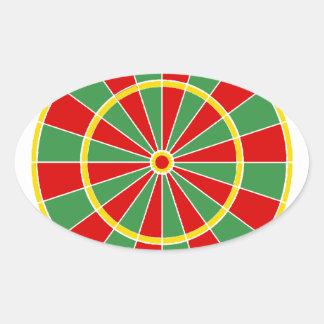 Modelo del Dartboard de Rasta Pegatina Ovalada