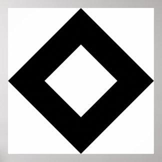 Modelo del diamante blanco y negro poster