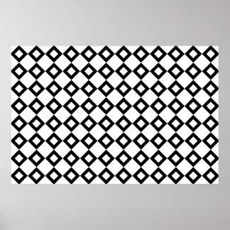 Modelo del diamante blanco y negro posters