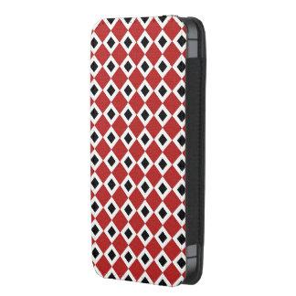 Modelo del diamante rojo, blanco, negro bolsillo para iPhone