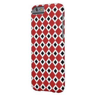 Modelo del diamante rojo, blanco, negro funda para iPhone 6 barely there