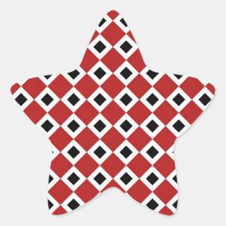 Modelo del diamante rojo, blanco, negro pegatinas forma de estrella personalizadas