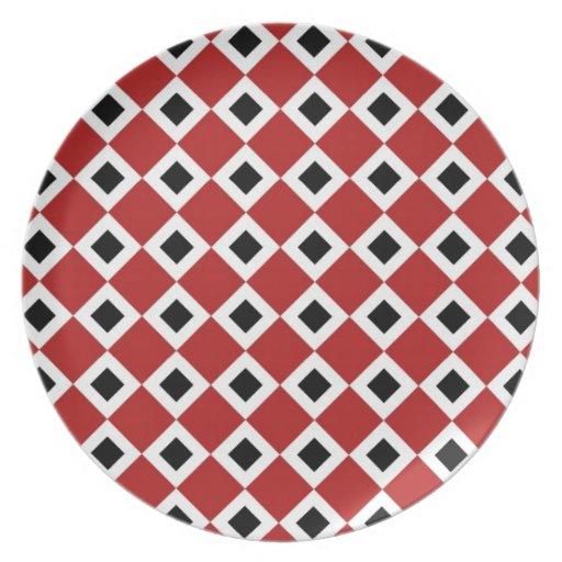 Modelo del diamante rojo, blanco, negro plato de cena