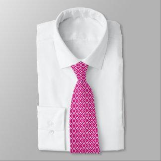Modelo del diamante - rosado fucsia y blanco corbatas personalizadas