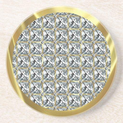 Modelo del diamante y acento blancos del oro posavasos diseño