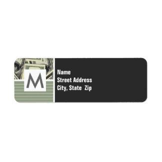 Modelo del dinero; Verde Etiquetas De Remite
