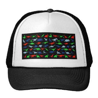 Modelo del dinosaurio azulverde y rojo en negro gorros bordados