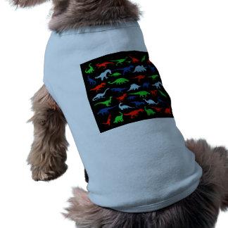 Modelo del dinosaurio azulverde y rojo en negro playera sin mangas para perro