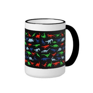 Modelo del dinosaurio azulverde y rojo en negro taza a dos colores