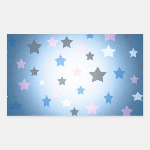 Modelo del diseño de las estrellas rosadas y pegatina rectangular