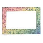 Modelo del diseño del símbolo de paz del arco iris marcos magneticos de fotos