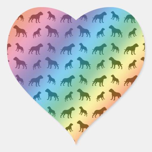 Modelo del dogo del arco iris pegatina corazon