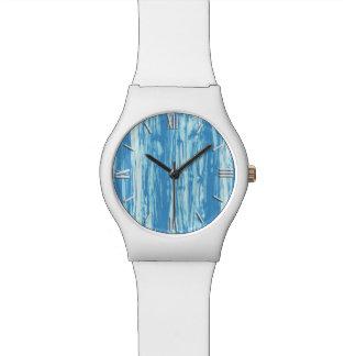 Modelo del Driftwood - azul y blanco de océano Relojes De Pulsera