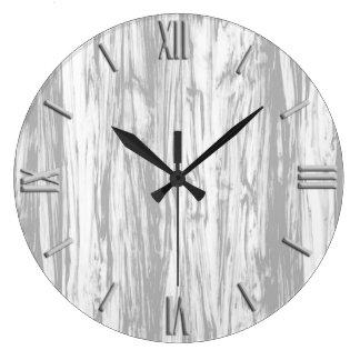 Modelo del Driftwood - gris/gris y blanco Reloj Redondo Grande