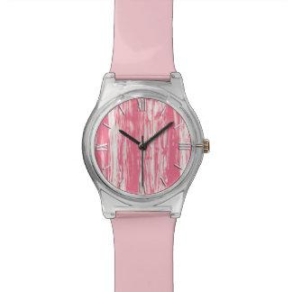 Modelo del Driftwood - rosado coralino y blanco Relojes De Pulsera