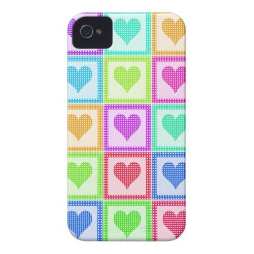 Modelo del edredón del corazón del arco iris iPhone 4 Case-Mate cobertura
