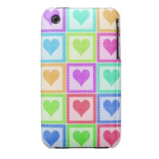 Modelo del edredón del corazón del arco iris Case-Mate iPhone 3 fundas