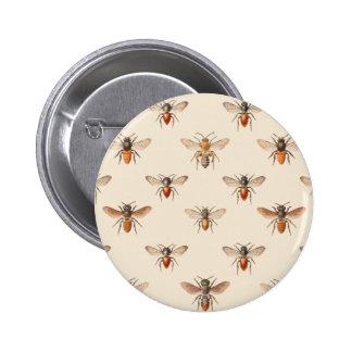 Modelo del ejemplo de la abeja del vintage pin redondo de 2 pulgadas