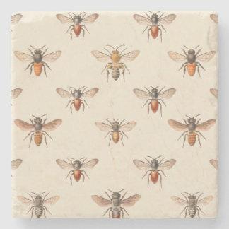 Modelo del ejemplo de la abeja del vintage posavasos de piedra