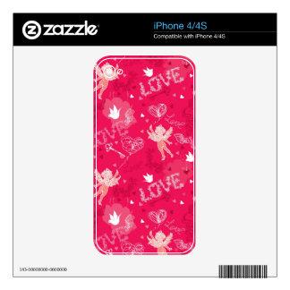 Modelo del el día de San Valentín con el Cupid iPhone 4S Calcomanías