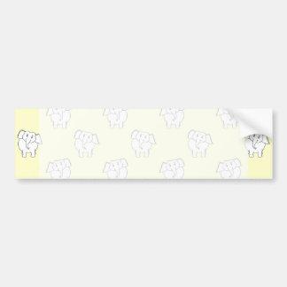 Modelo del elefante blanco en amarillo pegatina de parachoque