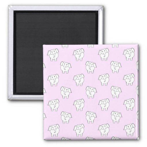 Modelo del elefante blanco en rosa imán para frigorifico