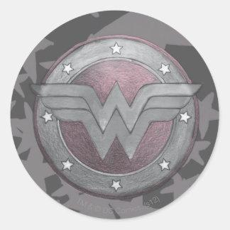 Modelo del escudo de la Mujer Maravilla Pegatina Redonda