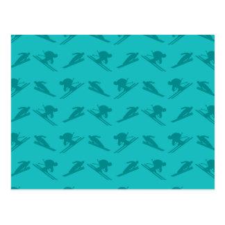 Modelo del esquí de la turquesa tarjeta postal
