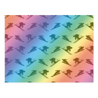 Modelo del esquí del arco iris postales