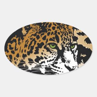 Modelo del estampado de animales del gato de pegatina ovalada