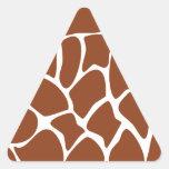 Modelo del estampado de girafa de Brown Calcomanía De Triangulo