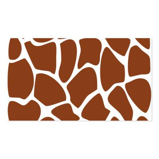 Modelo del estampado de girafa de Brown Tarjeta De Visita