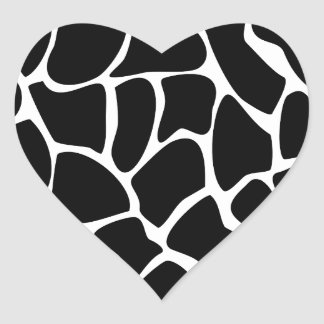 Modelo del estampado de girafa. Diseño del Pegatina En Forma De Corazón