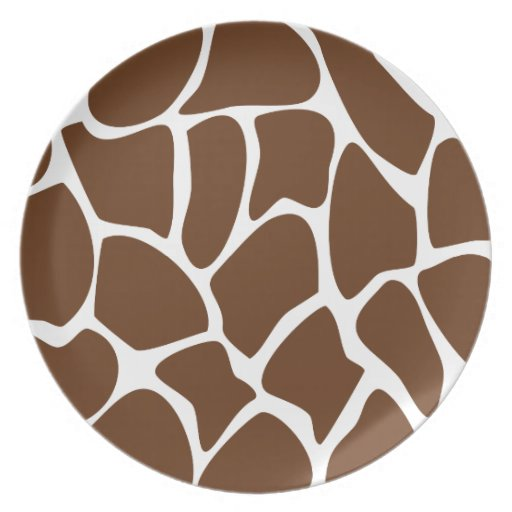 Modelo del estampado de girafa en Brown oscuro Plato Para Fiesta