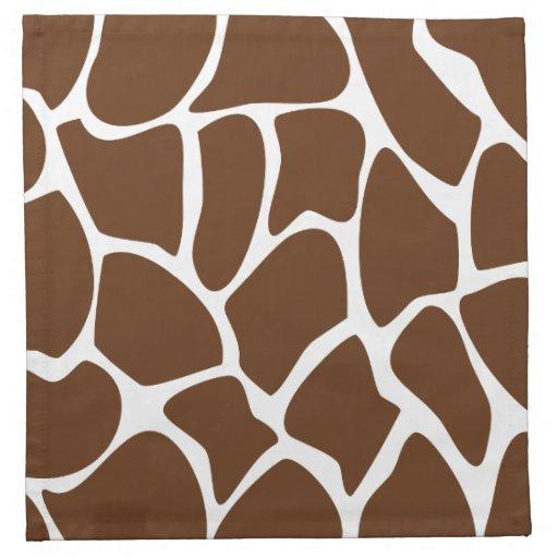 Modelo del estampado de girafa en Brown oscuro Servilletas