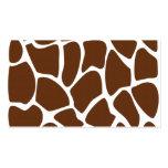 Modelo del estampado de girafa en Brown oscuro Tarjetas Personales
