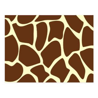 Modelo del estampado de girafa en Brown oscuro Tarjetas Postales