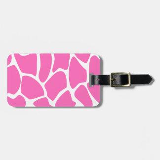 Modelo del estampado de girafa en rosa brillante etiqueta para maleta