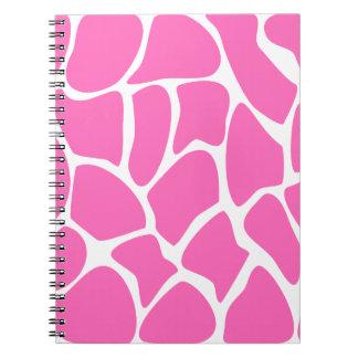 Modelo del estampado de girafa en rosa brillante libretas espirales
