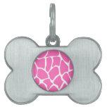 Modelo del estampado de girafa en rosa brillante placas de mascota