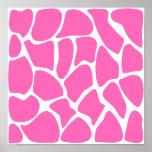 Modelo del estampado de girafa en rosa brillante posters