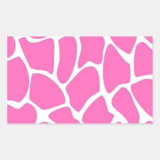 Modelo del estampado de girafa en rosa brillante pegatina rectangular
