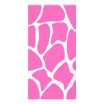 Modelo del estampado de girafa en rosa brillante tarjeta con foto personalizada