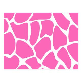 Modelo del estampado de girafa en rosa brillante postales