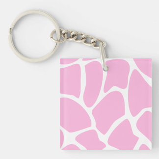Modelo del estampado de girafa en rosa del caramel llavero cuadrado acrílico a una cara