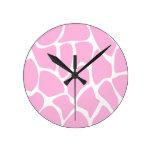 Modelo del estampado de girafa en rosa del caramel reloj de pared