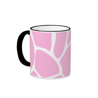 Modelo del estampado de girafa en rosa del caramel taza a dos colores
