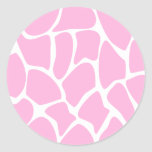 Modelo del estampado de girafa en rosa del etiqueta redonda