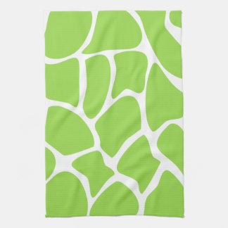 Modelo del estampado de girafa en verde de cal toalla de cocina